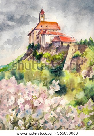 Watercolors illustration of spring landscape with castle Riegersburg,Styria,Austria. - stock photo