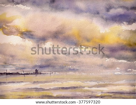 Watercolors painting of a fisherman on the rocks under  dramatic sky. - stock photo