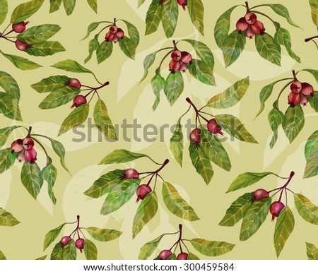 Watercolour berries and leaves seamless background pattern, toned