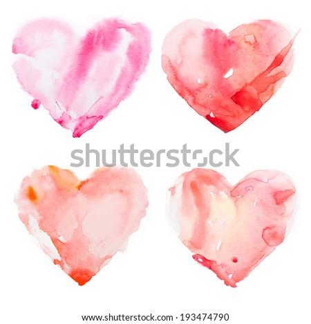 Watercolour heart isolated on white background - stock photo
