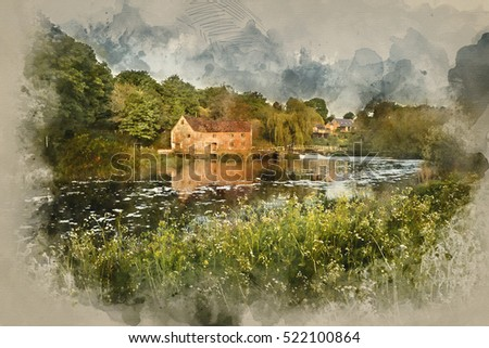 Watercolour image of Early morning landscape across River to old Mill