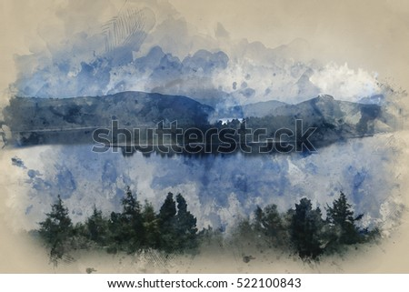 Watercolour image of Moody landscape image of lake pre-dawn in Autumn