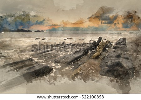 Watercolour image of Rugged long exposure landscape seascape of rocky coastline
