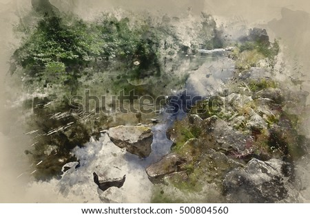 Watercolour landscape painting of long exposure of river flowing through lush green forest