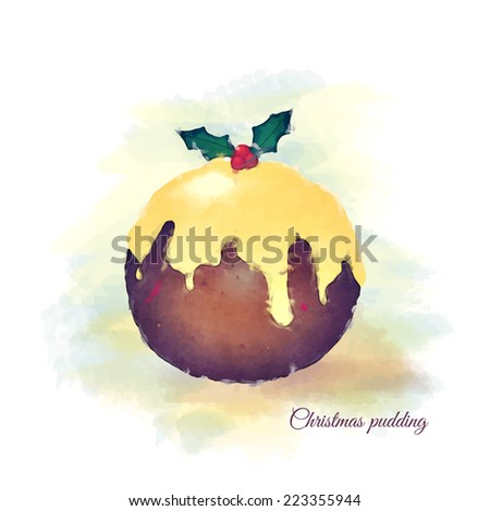 Watercolour of a Christmas pudding, topped with brandy butter and a sprig of holly.  - stock photo