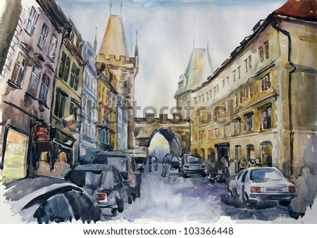 Watercolour of Old City of Prague: churches, streets, roofs in the evening - stock photo