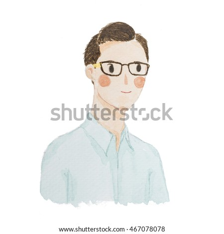 Watercolour painting happy men portrait cute cartoon isolate on white background.