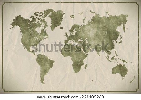 Watercolour world map on aged, crumpled paper background.  - stock photo