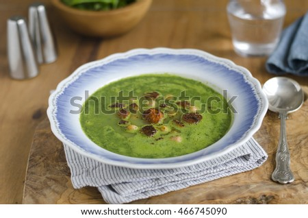 Watercress and chickpea soup with rose water and Ras el Hanout