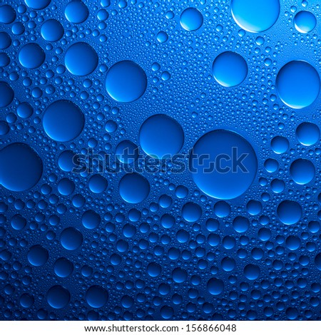 Waterdrops nano effect on blue background