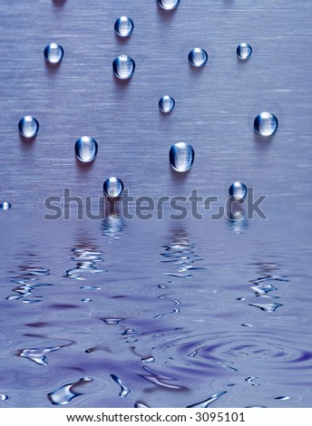 Waterdrops on metal background with reflection on water