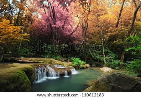 Waterfall and blue stream in the colorful forest spring season in Thailand