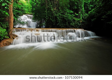 Waterfall and blue stream in the forest Thailand