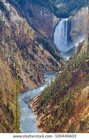 Waterfall and canyon in the Yellowstone National Park, Wyoming, USA