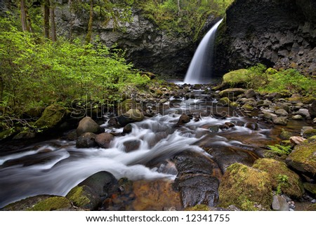 Waterfall and stream in the columbia river gorge - stock photo