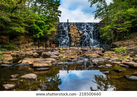 Waterfall at Chewacla State Park new Auburn, Alabama - stock photo