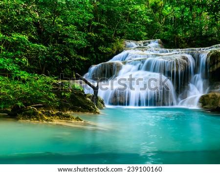 Waterfall at Erawan National Park, Thailand - stock photo