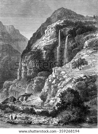 Waterfall at La Balme-de-Thuy, Haute-Savoie, vintage engraved illustration. Magasin Pittoresque 1880.