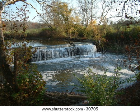 Waterfall at Mill - stock photo