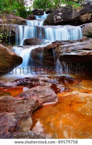Waterfall at National Park Thailand - stock photo