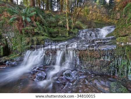 Waterfall at Talybont Reservoir near Abergavenny in Wales
