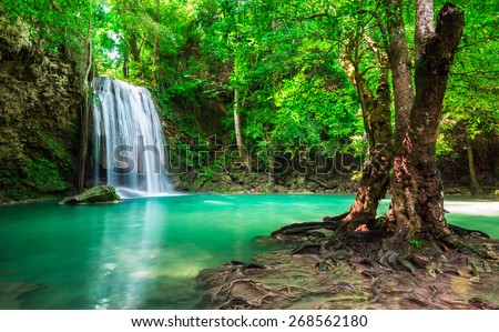 Waterfall at Thailand National Park - stock photo