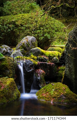 Waterfall at the Japanese garden in Portland, Oregon. - stock photo
