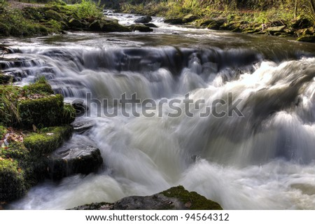 Waterfall at Watersmeet, Devon, UK - stock photo