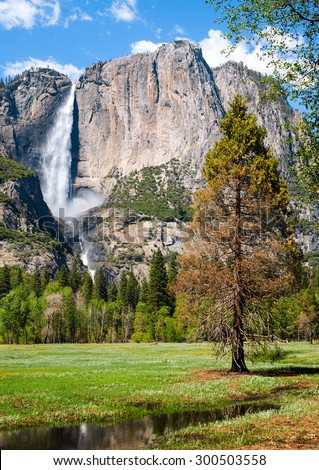 Waterfall at Yosemite Valley, Yosemite National Park - stock photo