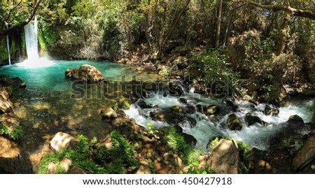 Waterfall Banias landscape. Water stream. Spring of river Hermon .Nature Reserve and National park a popular place for tourist trips with locals and foreigners in the north of Israel. Panoramic view