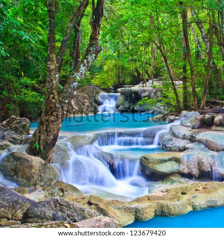 Waterfall  beautiful asia Thailand - stock photo