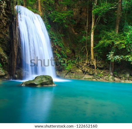 Waterfall  beautiful (erawan waterfall) in kanchanaburi province asia southeast asia Thailand - stock photo