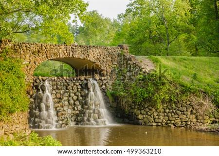 Waterfall Bridge At Reynolda Gardens In Winston Salem, North Carolina.