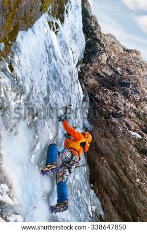 Waterfall climbing - stock photo