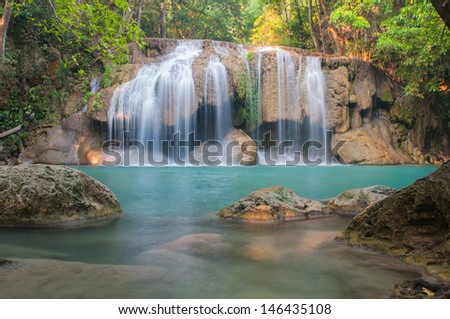 Waterfall deep forest  at Erawan waterfall National Park Kanchanaburi of Thailand