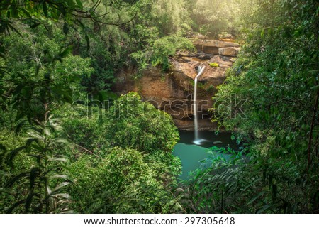 Waterfall deep forest at Hew Suwat waterfall National Park  of Thailand - stock photo