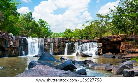 Waterfall deep forest at tadton National Park Tadton chaiya phum of Thailand - stock photo