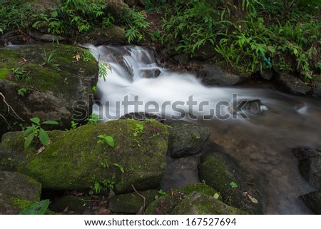 waterfall deep forest in Thailand - stock photo