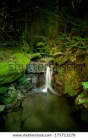 Waterfall deeply in the forest - stock photo