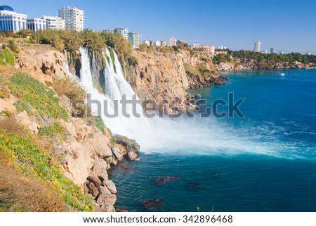Waterfall Duden at Antalya, Turkey - stock photo