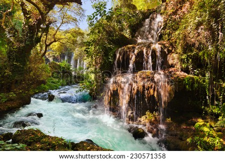Waterfall Duden at Antalya Turkey - nature travel background - stock photo