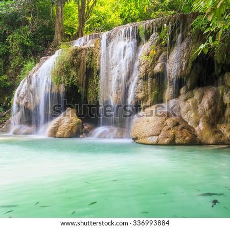 Waterfall erawan - stock photo