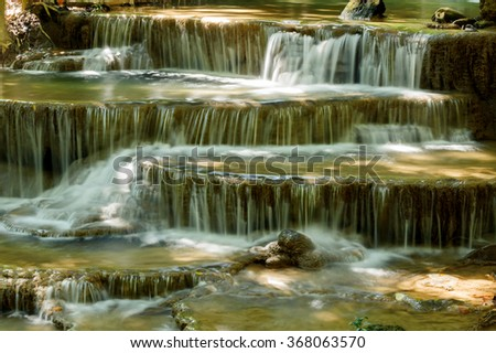Waterfall forest Huay Mae Kamin National Park, Kanchanaburi, Thailand - stock photo