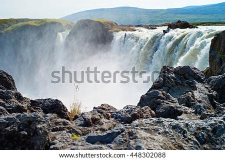 Waterfall Godafoss, Iceland. - stock photo