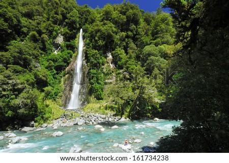 Waterfall, Haast River - stock photo