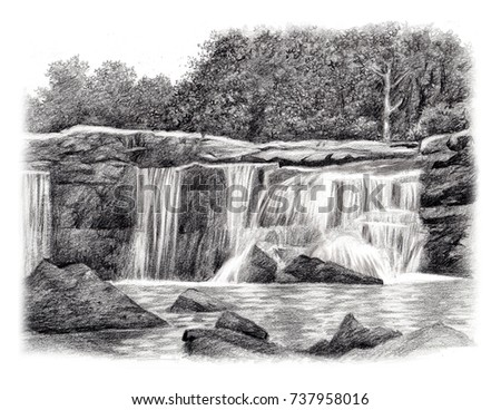 Waterfall hand sketch drawing by pencil