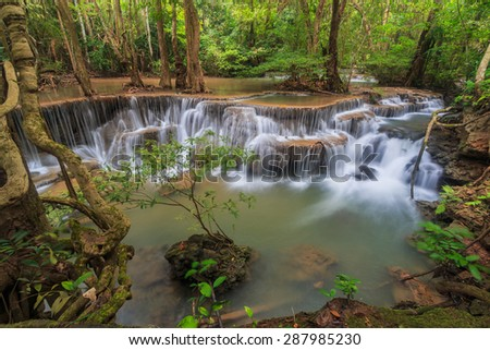 Waterfall (Huay Mae Kamin Waterfall) in kanchanaburi of Thailand
