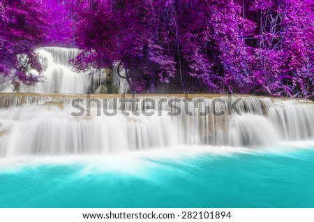 Waterfall Huay Mae Khamin three Level, Kanchanaburi Province, Thailand - stock photo