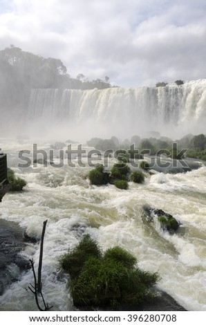 waterfall Iguacu Falls in Brazil and Argentina - stock photo