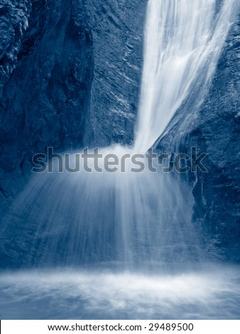 waterfall image, blue toned image